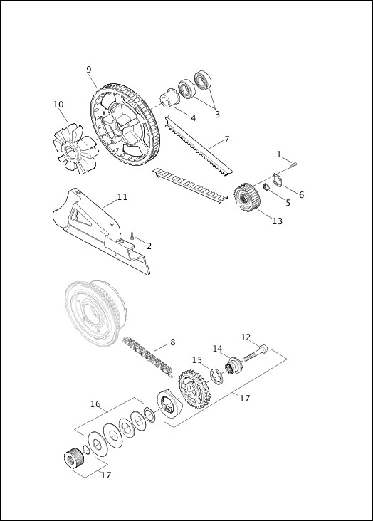 BELT, CHAIN AND SPROCKETS|2017 FLHTKSE Parts Catalog