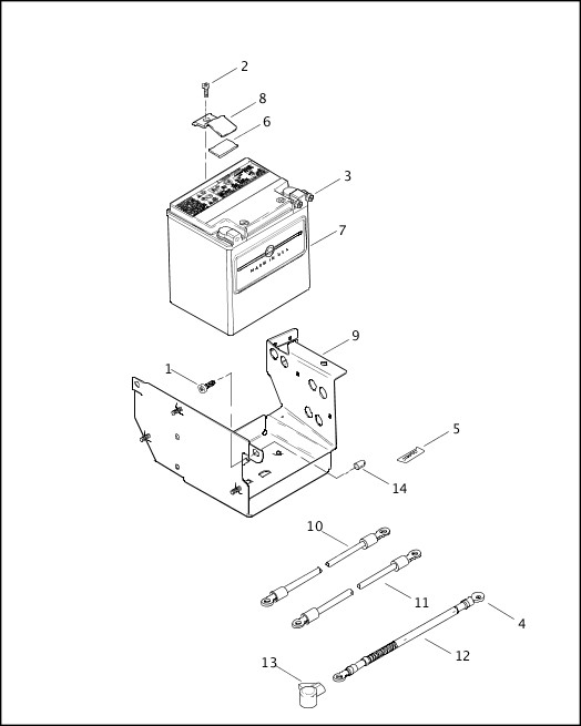 BATTERY, TRAY & CABLES|2002 FLHRSEI Parts Catalog