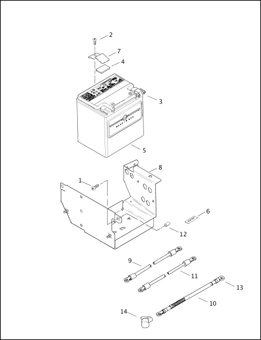 BATTERY, TRAY & CABLES 2000 FLTRSEI Parts Catalog