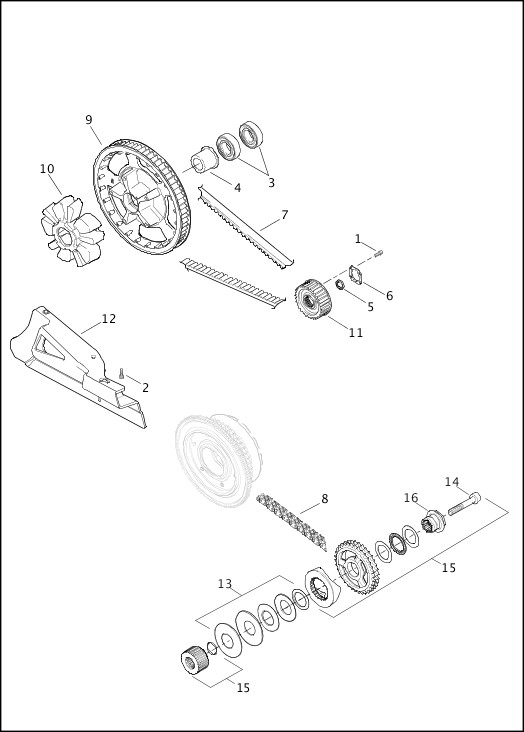 BELTS, CHAINS AND SPROCKETS|2016 FLHTKSE Parts Catalog