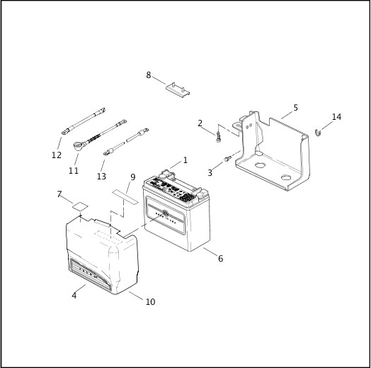 BATTERY TRAY & BATTERY|2001 FXDWG2 Parts Catalog