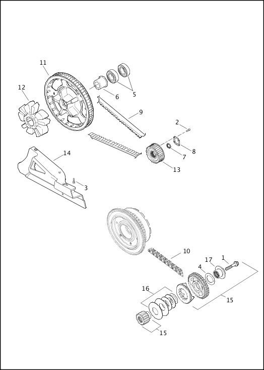 BELTS, CHAINS & SPROCKETS 2013 FLHTCUSE8 Parts Catalog