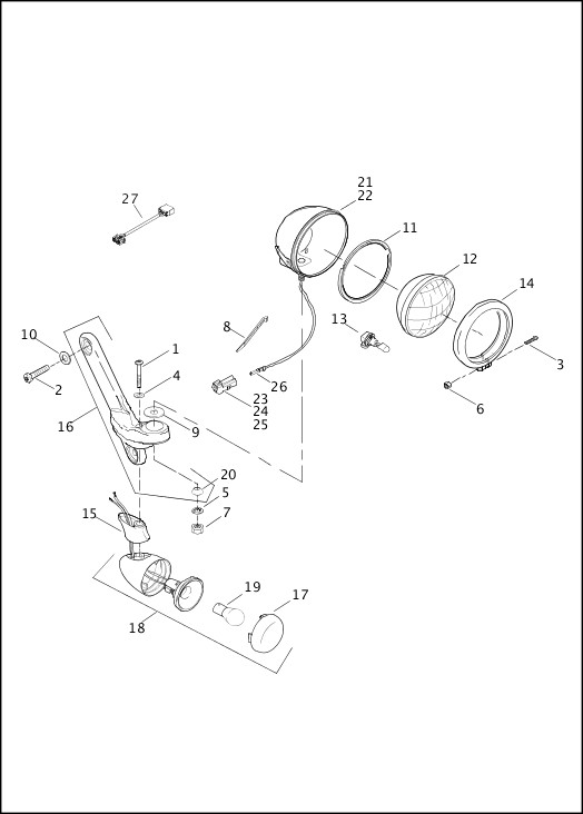 AUXILIARY / FOG LAMPS & TURN SIGNALS, FRONT|2013 FLHTCUSE8 Parts Catalog