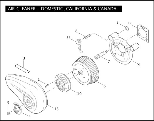 AIR CLEANER - DOMESTIC, CALIFORNIA, & CANADA|2006 FLSTFSE2 Parts Catalog