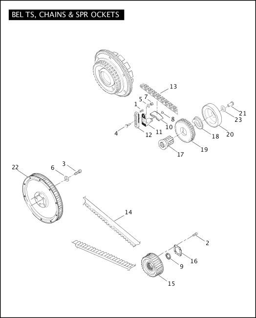 BELTS, CHAINS & SPROCKETS 2006 FLSTFSE2 Parts Catalog