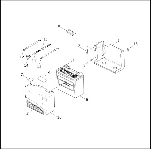 BATTERY TRAY & BATTERY|2002 FXDWG3 Parts Catalog