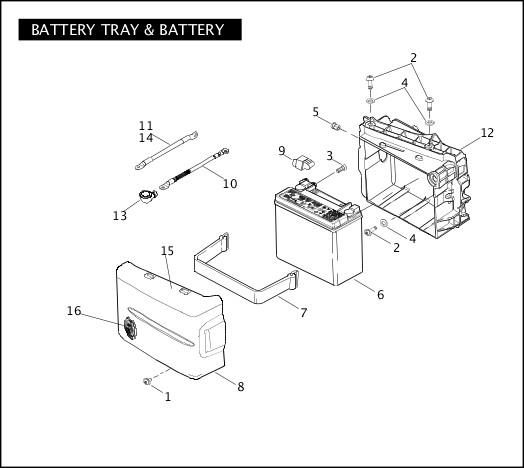 BATTERY TRAY & BATTERY|2008 FXDSE2 Parts Catalog