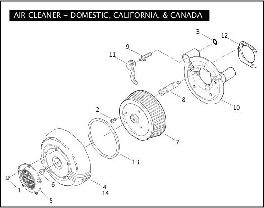 AIR CLEANER - DOMESTIC, CALIFORNIA, & CANADA|2007 FLHRSE3 Parts Catalog