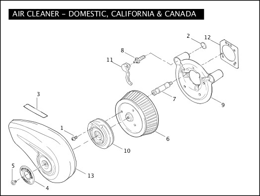 AIR CLEANER - Domestic, California & Canada|2005 FLSTFSE Parts Catalog