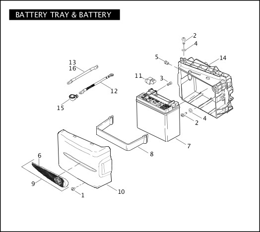 BATTERY TRAY & BATTERY|2007 FXDSE Parts Catalog