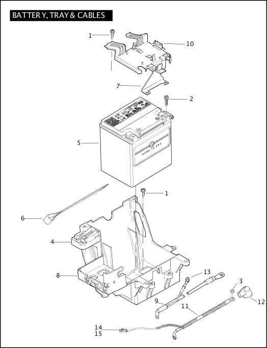 BATTERY, TRAY, & CABLES 2010 FLHXSE Parts Catalog