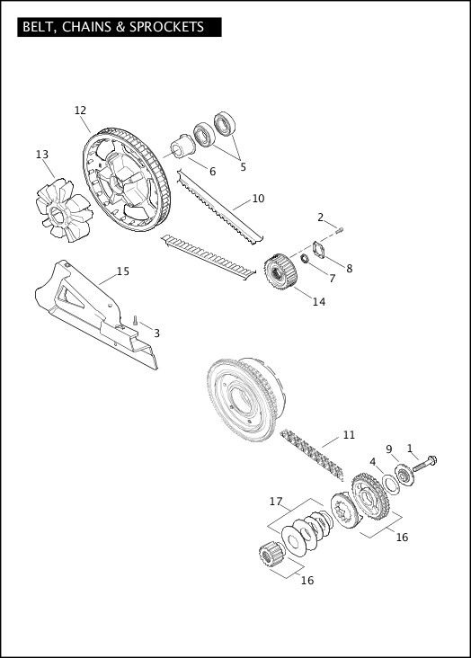 BELT, CHAINS & SPROCKETS|2011 FLHXSE2 Parts Catalog