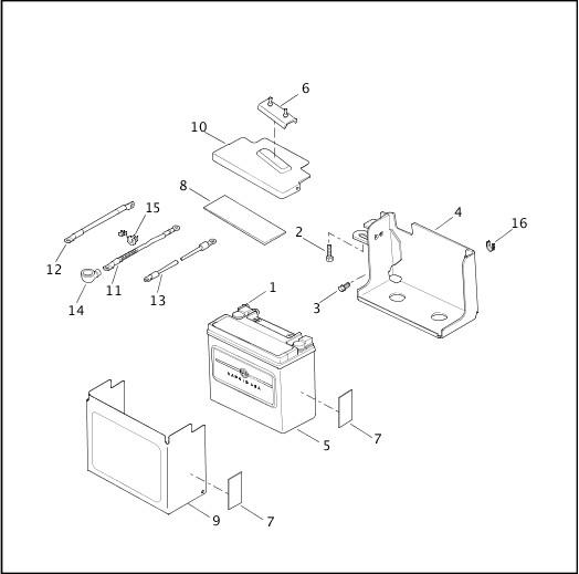 BATTERY TRAY & BATTERY|2002 Dyna Models Parts Catalog