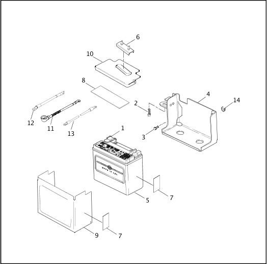 BATTERY TRAY & BATTERY|2001 Dyna Models Parts Catalog
