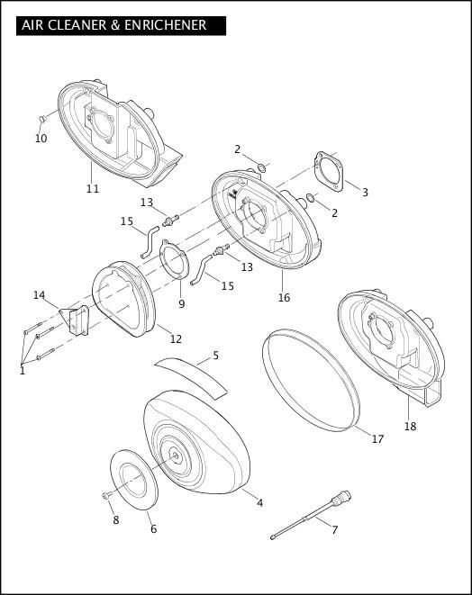 AIR CLEANER & ENRICHENER|2004 Dyna Models Parts Catalog