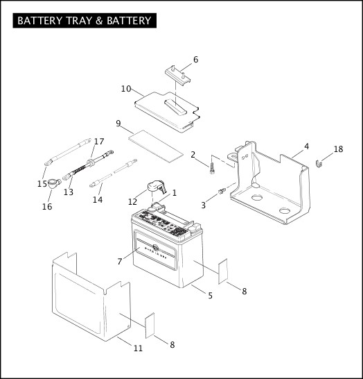 BATTERY TRAY & BATTERY|2005 Dyna Models Parts Catalog