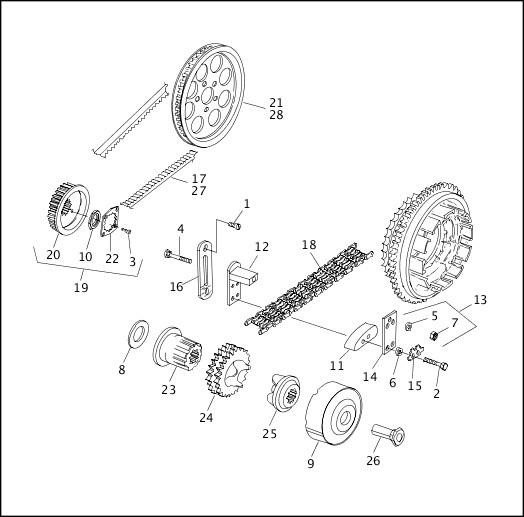 BELTS, CHAINS & SPROCKETS (1 OF 2)|1993-1994 FXR Models Parts Catalog