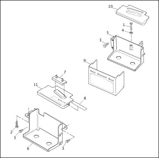 BATTERY TRAY|1995-1996 Dyna Models Parts Catalog