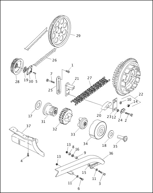 BELTS, CHAINS, SPROCKETS & REAR BELT GUARD|1999 Dyna Models Parts Catalog