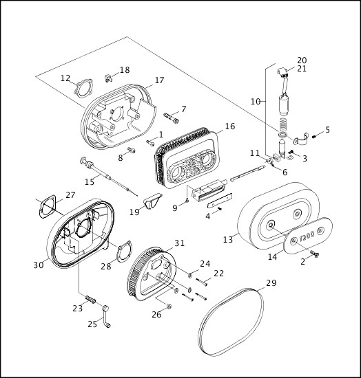 AIR CLEANER & ENRICHENER|2001 XLH Models Parts Catalog