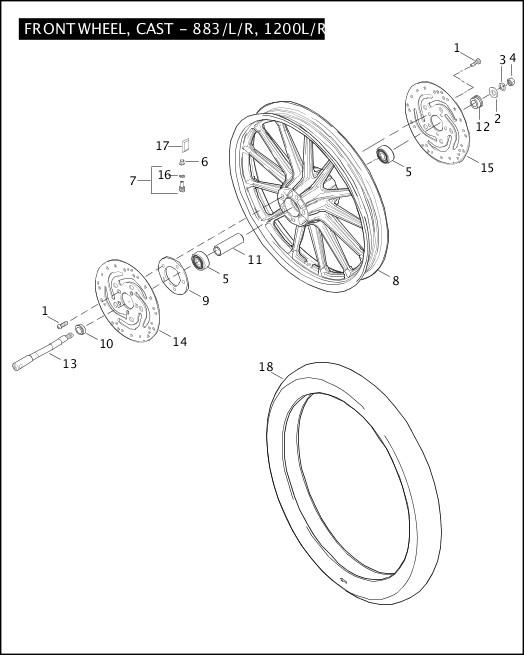 2008 Sportster Models Parts Catalog Front Wheel Cast 883 L R 1200l R Chester Harley Davidson