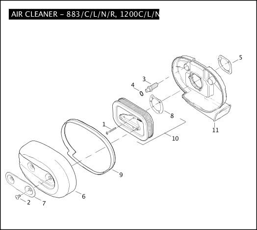 AIR CLEANER - 883/C/L/N/R, 1200C/L/N/R|2009 Sportster Models Parts Catalog